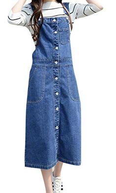 18369202ba8 Skirt BL Women s Vintage Plus Size Blue Romper Denim Overall Jean Skirt  Dress