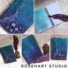 #rosehartstudio #annaemeliahowlett #notebook #powertex #mixedmedia #hare #mushroom #butterfly #turquoise #purple #pretty