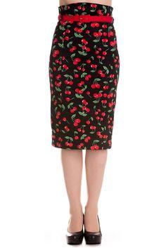 Hell Bunny Cherry Pop Pencil Skirt