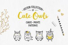 Cute Owls Clipart by Teneresa on @creativemarket