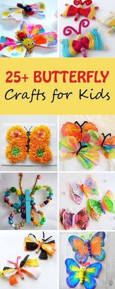 Butterfly crafts for kids. Make beautiful butterflies with tissue paper, paper roll, paper plate, beads, coffee filter, doily, pom poms and more. Simple spring crafts for toddlers, preschoolers, kindergartners. | at Non-Toy Gifts