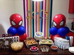 30 ideias simples para festa do Homem Aranha - Guia Tudo Festa - Blog de Festas - dicas e ideias! Superhero Birthday Party, 3rd Birthday, Birthday Party Decorations, Party Themes, Halloween, Super Mario, 30, Muffin, Blog