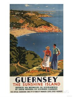 Guernsey, England - Southern/Great Western Rail Couple on Cliff Poster Art at AllPosters.com