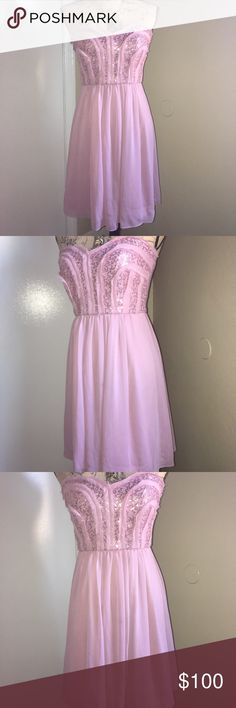 New BCBG Paris STUNNING Pale Pink Strapless Dress Retails $220. Flawless!  BCBG Paris - Elegant / Classy Strapless Sequin Cocktail Dress.  Women's / Ladies - Size 4 or Small S.  A gorgeous Pale Pink w/ Sequins. High end quality material.  Perfect for a ladies night out or cocktails.  Keywords - Formal / Wedding / Quincinera / Birthday / Princess / Sweetheart / Valentines / Love / Date Night / Prom / Gala / Ball / Night Club  Please FOLLOW ME & check out the other items in my closet. BUNDLE…