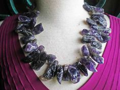 Raw Amethyst Quartz Natural Stone -  Sterling Silver Necklace - On Sale