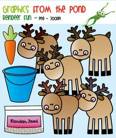 Reindeer Fun -  Clipart Set for Teachers and Classrooms