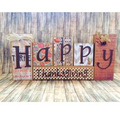 """Happy Thanksgiving""  wooden block set for Thanksgiving, Fall, Autumn home decor (17.5 x 8 x 1.5"")  $25. Visit my FB page www.facebook.com/kimswoodnwords or follow me on Instagram @woodnwords. #woodnwords #thanksgiving"