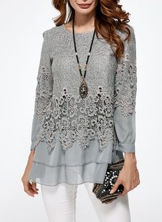 Latest fashion trends in women's Blouses. Shop online for fashionable ladies' Blouses at Floryday - your favourite high street store. Blouse Styles, Blouse Designs, Casual Wear, Casual Dresses, Elisa Cavaletti, Modelos Fashion, Blouse Vintage, Blouses For Women, Ladies Blouses