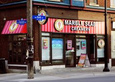 Over 50 flavours of hand-crafted ice cream and over 30 mixins to customize your unique gourmet ice cream treats and cakes. Marble Slab Creamery, Ottawa Restaurants, Gourmet Ice Cream, Ice Cream Treats, Street, Shop, Walkway, Store