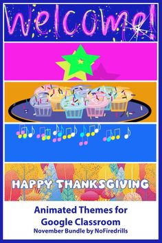 Animated headers to decorate your Google Classroom for November. Thanksgiving theme included. Online Classroom, Classroom Themes, School Bus Driver, Themes Free, Free Education, Home Learning, Google Classroom, Educational Technology, Classroom Management
