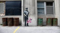 Banksy is a British graffiti artist, whose identity is unknown. His artistic graffiti paintings have been featured on streets, walls, and Banksy Graffiti, Street Art Banksy, Banksy Work, Graffiti Artwork, Bansky, Urban Street Art, Urban Art, Bristol, Disneyland
