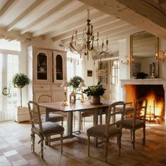 Dining Room Fireplace Rustic Country French Cottage House