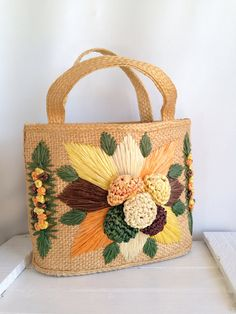 Vintage Woven Straw purse Mexican yarn embroidered Boho tote bag on Etsy, $32.00