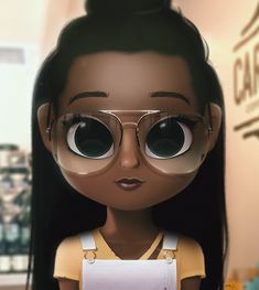 Cartoon, Portrait, Digital Art, Digital Drawing, Digital Painting, Character Design, Drawing, Big Eyes, Cute, Illustration, Art, Girl, Doll, Hair, Long Hair, Black, Glasses, Overall, Yellow