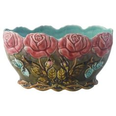 Check out this item at One Kings Lane! 19th-C. Majolica Rose Jardinière