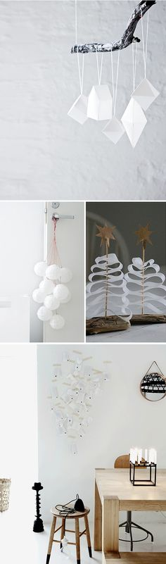 Xmas tree on drift wood seems easy to make on your own Noel Christmas, All Things Christmas, Winter Christmas, Handmade Christmas, Christmas Crafts, Christmas Ornaments, Paper Ornaments, Deco Table Noel, Holiday Fun
