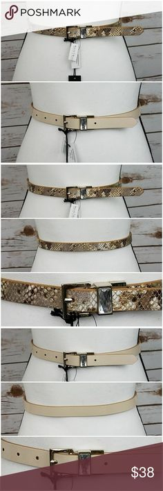 Reversible Gold/Cream Snake Print & Nude Belt-Sm *NWT* This slim belt has a reversible buckle that features a large crystal inset. One side of the belt is an embossed gold, cream, taupe, & light green snake print design; the other side is a shiny patent nude color. Pair with almost any casual, special occasion, or professional outfit. Approx. length 36 inches, width 0.75 inches. 7 buckle holes. Size small. Brand: White House Black Market @405dec White House Black Market Accessories Belts