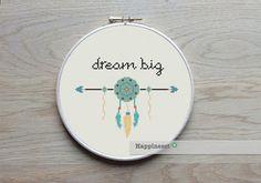 modern cross stitch pattern Dream big quote aztec por Happinesst