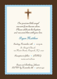 Baby Boy Baptism Invitation boy or girl baby boy by CMLDesigns
