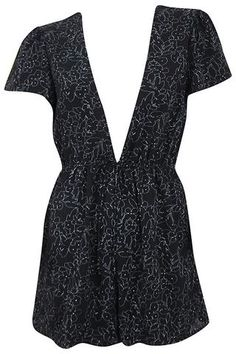 Floral Outline Cap Sleeve Romper - Black #shoppitaya