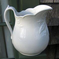 Antique English White Ironstone Pitcher Fleur De Lis With Leaves Shape - R