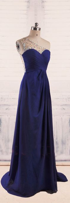 A-Line One Shoulder Royal Blue Evening Dresses long