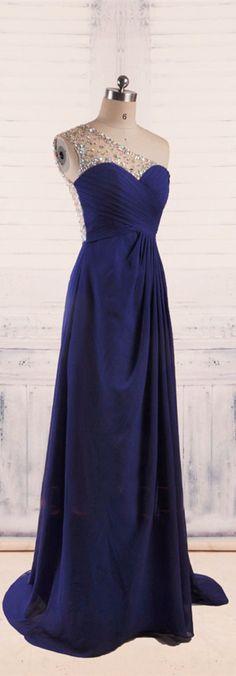 A-Line One Shoulder Royal Blue Evening Dresses long