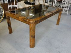 Stunning Paul Evans Brutalist Style Patchwork Dining Table with the original inset smoked glass top. Measures: H X W X D It is in excellent VINTAGE condition with a chip in one corner of the glass ( see pics) Palm Beach Regency, Paul Evans, Brutalist, Chrome, Dining Table, Glass, Modern, Furniture, Home Decor