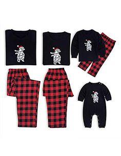 d579316ec3dde BESBOMIG Ensemble de Pyjamas de Noël en Coton Doux T-Shirts Assortis pour  Famille Personnalisés