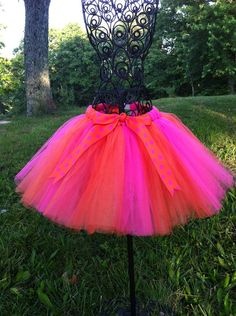 Handmade Pink and Orange Tutu Tulle Skirt with Matching Polka Dot Bow Attached at Waist- with sizes