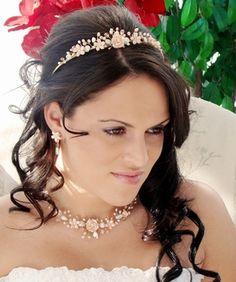 Pink Porcelain Wedding Tiara with Matching Jewelry Set! lovely! affordableelegancebridal.com