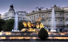 Madrid Spain the fountain the fountain of Cibeles dusk evening a monument of the earth goddess of fertility Cybele the chariot lions Palace Palace of Linares Madrid Hotels, Madrid Tours, Madrid City, The Places Youll Go, Places To Go, Lourdes, Ibiza, Wanderlust, Spain Travel