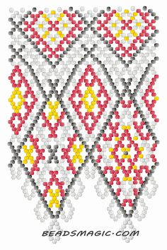 Free pattern for necklace Mexico in native style. U need : seed beads 11/0