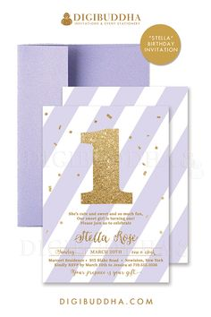 Lilac + Gold glitter 1st birthday invitations in a soft pastel purple and gold glitter sparkle number one. Customizable to any age. Choose from ready made printed invitations with envelopes or printable First birthday invitations. Matching envelope liners and lilac envelopes also available. digibuddha.com