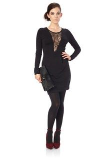 French Connection jersey lace insert dress is a sleek and sexy style. Pair with skyscraper heels and a clutch for an arresting look. Alicia Lace Dress has a round neck, long sleeves, deep V lace insert at front, fixed waistband with pleat detail and zip at back.