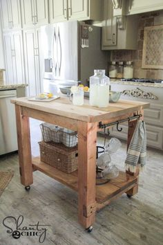 Mobile Kitchen Island, Kitchen Island On Wheels, Rolling Kitchen Island, Rustic Kitchen Island, Kitchen Island Decor, Wooden Kitchen, Kitchen Cabinets, Kitchen Tables, Kitchen Counters