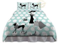Poodle Paris Bedding - Modern Fashion Girls Comforter Teal, Black, White, Polka Dots - Paris Bedding - Custom Personalized #222 by EloquentInnovations on Etsy
