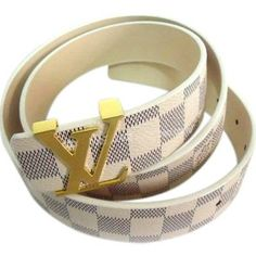 Stylish Louis Vuitton Mens Damier Embossed Leather Pin Buckle Belt