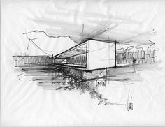 Levin Residence, by Ibarra Rosano Design Architects / Marana, Arizona Drawing Software, Drawing Sketches, Sketching, Architecture Drawings, Modern Architecture, Pavilion Architecture, Plan Sketch, Model Sketch, Building Sketch