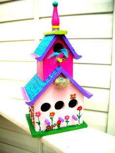 Whimsical shabby chic bird house