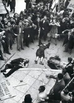 Protesters in angst after police open fire on the crowd on December 3rd 1944.