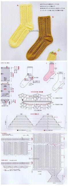 钩织 图解❤️毛线袜
