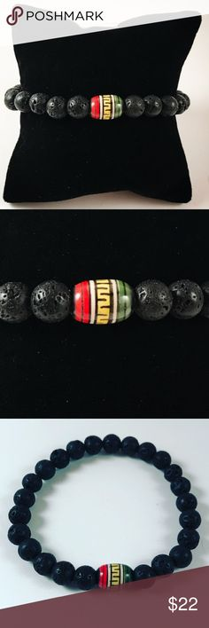 Men lava rock /volcano beads , beaded bacelet Men beaded bracelet. Fits most , 7.5 to 8.5 inch wrist. Handmade by me , never worn by anyone. Made with black lava beads / volcano rocks. Peruvian handpainted ceramic bead .I ship fast!!✈️ Bundle and save! ( 10 % off bundles) REASONABLE offers considered. Any questions let me know! NO PAYPAL ! Accessories Jewelry
