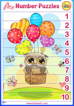 FREE Number Puzzles - Preschool Printables for Kids - Learning Numbers, Counting - Fun Math Activities and Worksheets for Homeschooling, Kindergarten and Grade 1 - by BonTon TV Fun Math Activities, Toddler Learning Activities, Kids Learning, Free Preschool, Preschool Printables, Numbers For Kids, Numbers Preschool, Number Puzzles, Learning Numbers