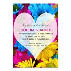 Wedding Invitation daisies colorful flower heart