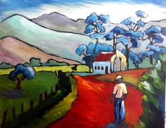 The brightness of the Overberg Evenings always inspire bright and happy colors. South African Artists, Watercolor Paintings, Watercolour, Happy Colors, Love Art, Architecture Art, Whimsical, Folk, Art Houses