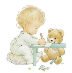 Baby with teddy Illustration by Ruth Morehead Cross Stitch Numbers, Just Cross Stitch, Cross Stitch Baby, Teddy Pictures, Cute Pictures, Baby Ruth, Images Gif, Sarah Kay, Holly Hobbie