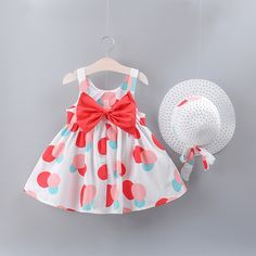 Dot Princess Dresses Bow Hat Outfits For Girls Dress Baby Girl Clothes Summer Party Clothing Hat Outfits Set Clothes Girls Summer Outfits, Little Girl Dresses, Kids Outfits, Girls Dresses, Summer Dresses, Loose Dresses, Sleeveless Dresses, Baby Girl Dress Patterns, Kids Frocks Design