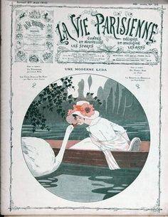 Georges Léonnec (1881 – 1940). Une Moderne Leda. La Vie Parisienne, 27 Août 1910. [Pinned 14-vi-2015]