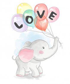 Cartoon elephant holding love balloons P... | Premium Vector #Freepik #vector #background #watercolor #baby #love